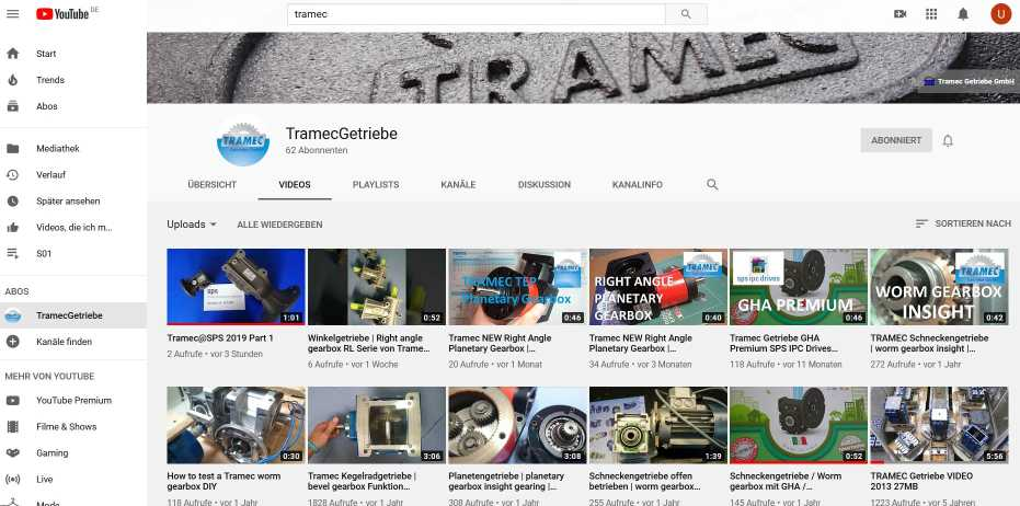 Tramec-Getriebe - Youtube-Channel